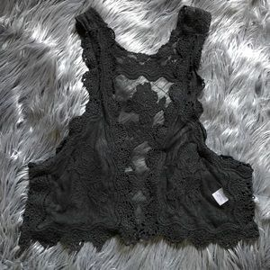Jackets & Blazers - PRE LOVED black lace crop vest